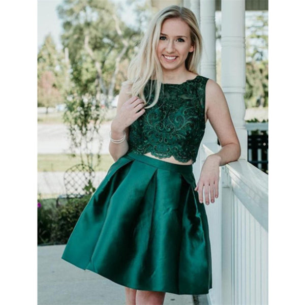 Two Pieces Beading Sleeveless Green Lace Appliques Short Homecoming Dress, HD0415