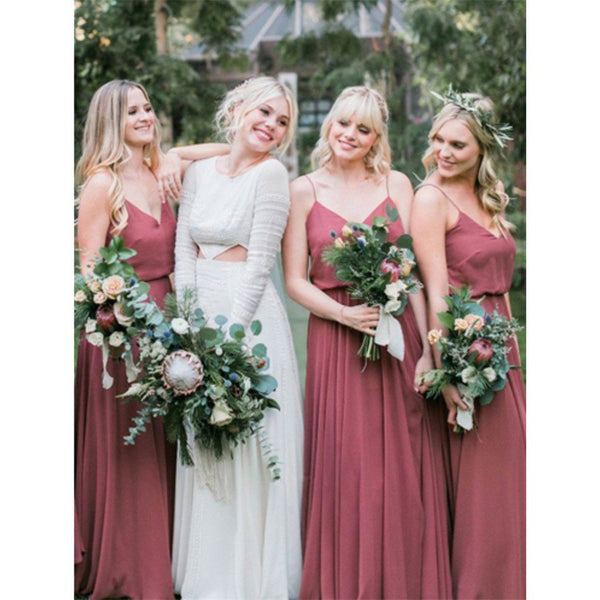 Charming V Neck Spaghetti Straps Chiffon Long Bridesmaid Dresses, BD0035