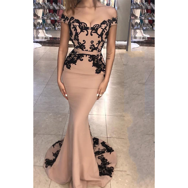 Off-shoulder Mermaid Black Lace Appliques Train Prom Dress, PD0617