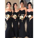 Two pieces Floor-length Mermaid Strapless Sweetheart Black Bridesmaid Dress, BD0470