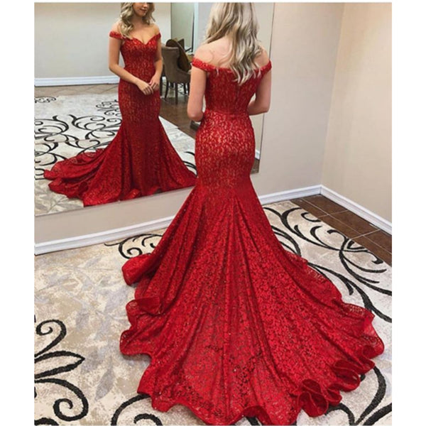 145cec276476a Amazing Off-shoulder Mermaid Red Lace Prom Dress With Train, PD0644 ...