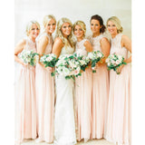 Modern Floor-length sleeveless Chiffon Lace cheap pretty popular Bridesmaid Dresses, BD0444