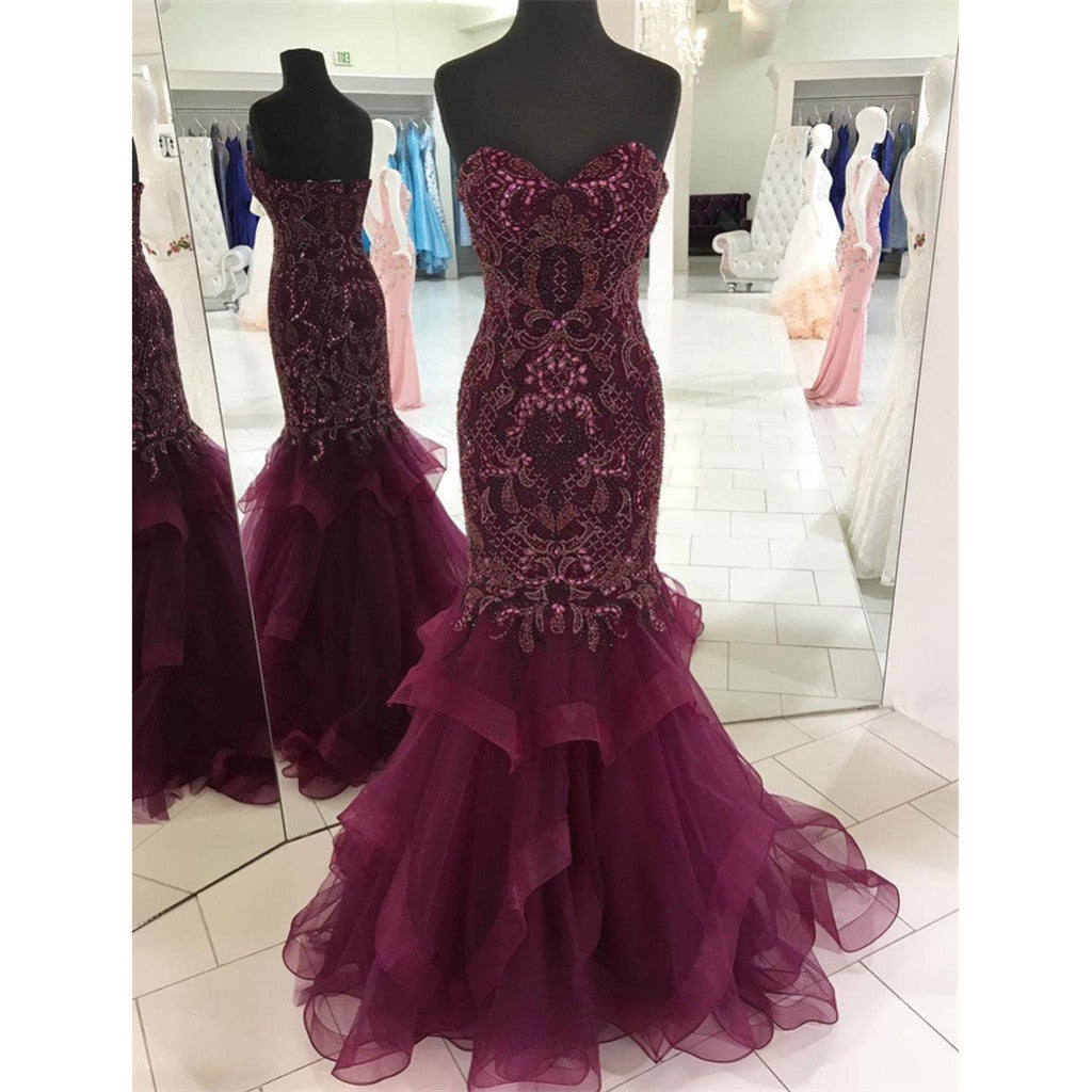 Mermaid Sweetheart Beading Long Purple Prom Dress, PD0599