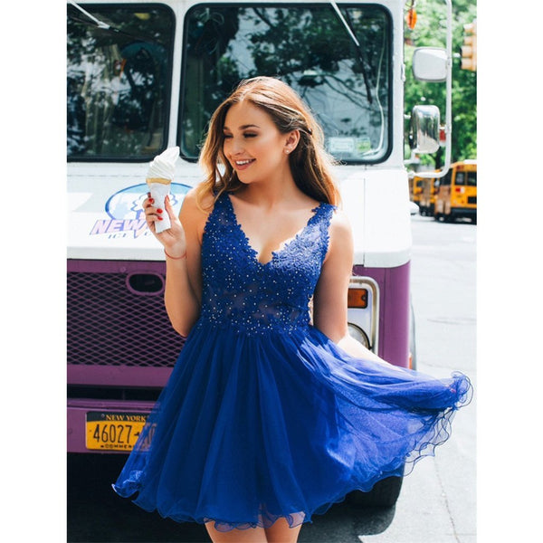 Newest A-line V-neck Beading Backless Blue Short Homecoming Dresses, HD0481