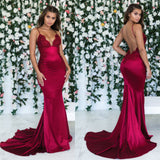Mermaid Spaghetti Straps Lace Prom Dresses With Train, PD0676