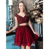 Two Pieces V-neck Beading Red lace Cap Sleeves Homecoming Dresses, HD0477