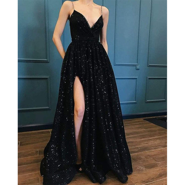 Shining Spaghetti Straps V-Neck Long High Split Black Prom Dress, PD0630