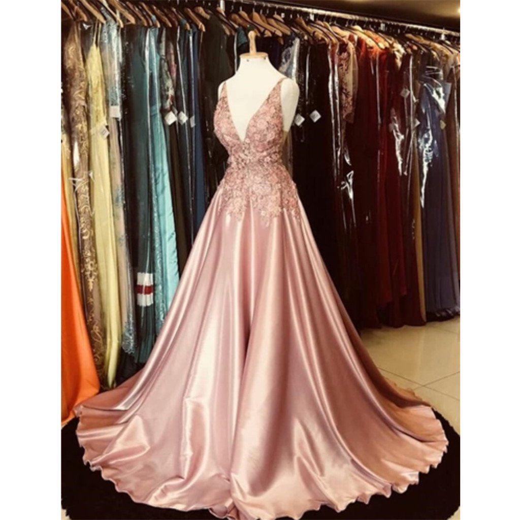 Gorgeous A-line V-neck Appliques Top Hot Selling Long Prom Dresses, PD0148