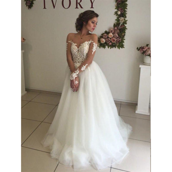A-line Lace Appliques Top Backless Long Sleeves Tulle Wedding Dresses, WD0396