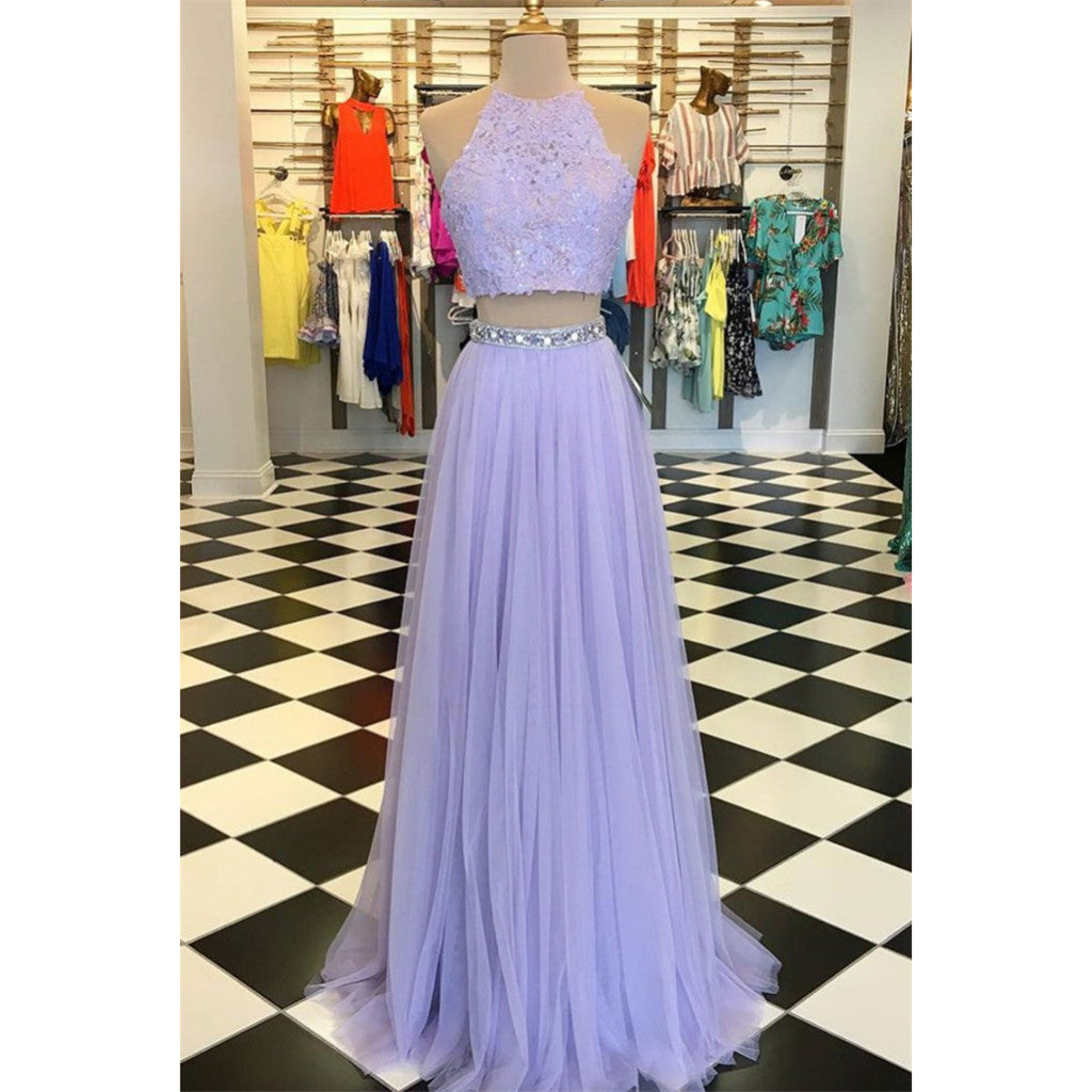 Two Pieces Floor-length Halter Sleeveless Beading Lavender Tulle Prom Dresses, PD0566