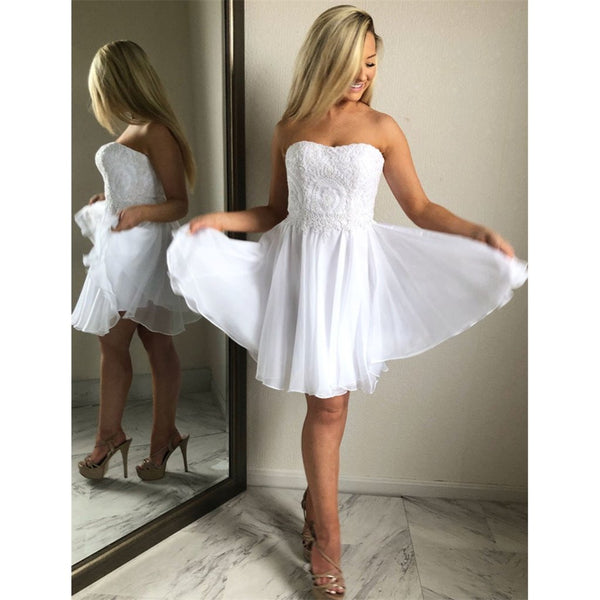 Aline Sweetheart White Lace Appliques Chiffon Short Homecoming Dresses, HD0444