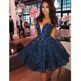 Newest A-Line Sweetheart Sexy Blue Lace Homecoming Dress with Beading, short prom dresses, PD0107