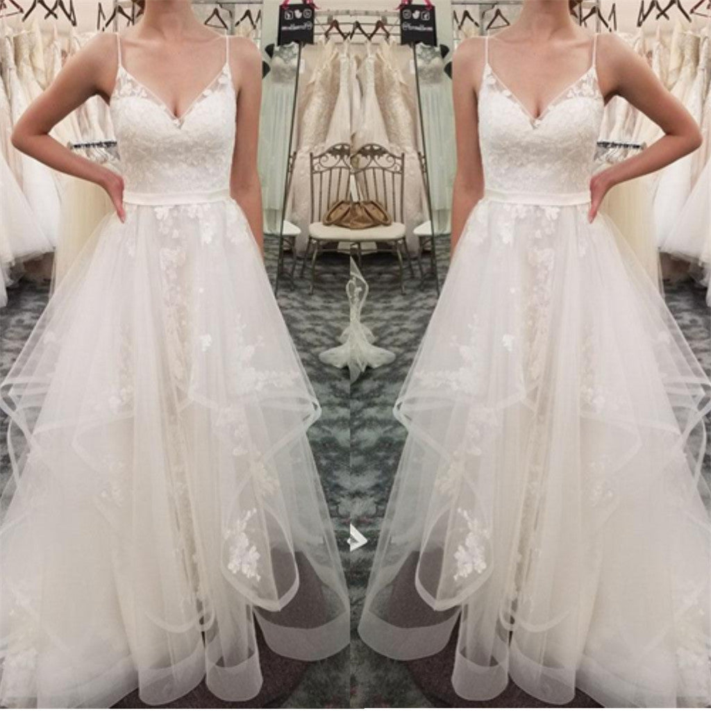 Spaghetti Straps Lace Appliques Organza Cheap Wedding Dresses, WD0425