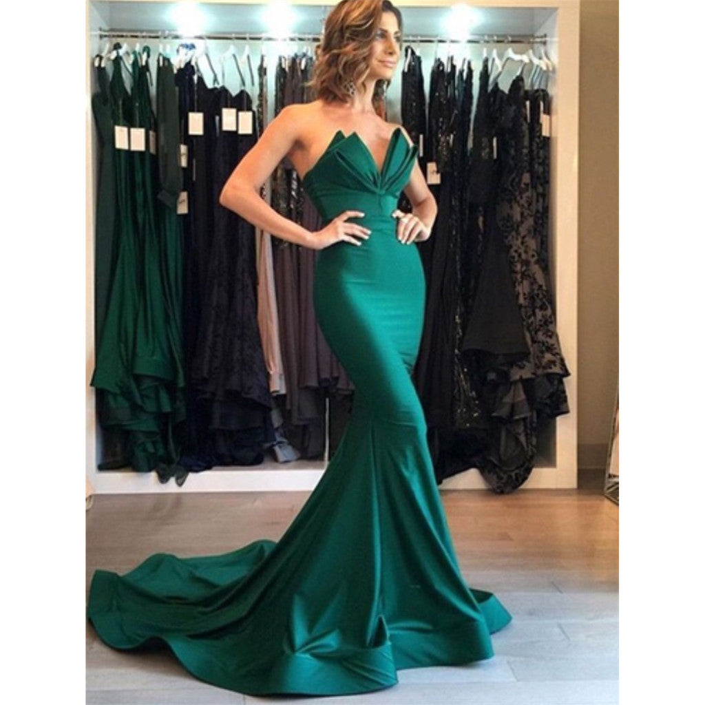 Mermaid V-neck Sleeveless Long Green Prom Dresses With Train, PD0694