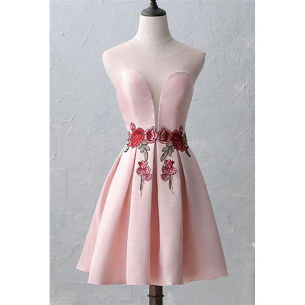 Round-Neck Pink Embroidery Cheap Open-back Sleeveless Homecoming Dresses, HD0368