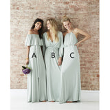 Newest Floor-length A-Line Off-the-Shoulder V-neck Long Sleeves Bridesmaid Dress, BD0477