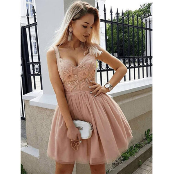 a6831782fb6 A-line Spaghetti Straps V-neck Appliques Homecoming Dresses With Pleats