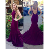 Mermaid Scoop Neck Purple V-back Long Prom Dress With Train, PD0612