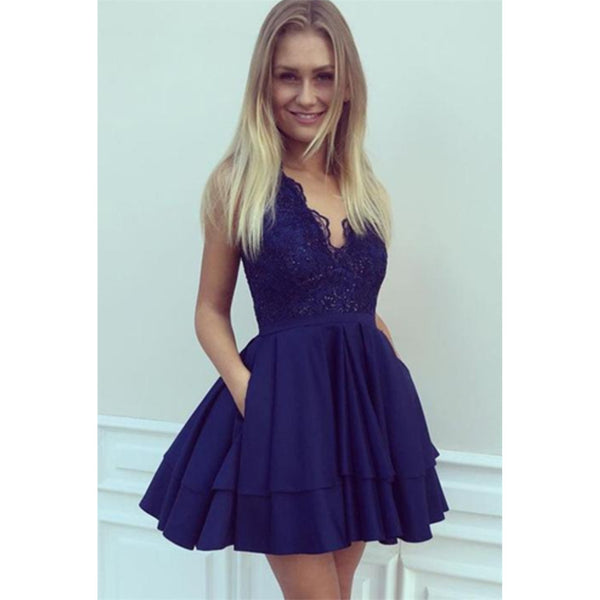 A-line V-neck Blue Lace Sleeveless Beading Party Dresses, Short Homecoming Dresses, HD0367