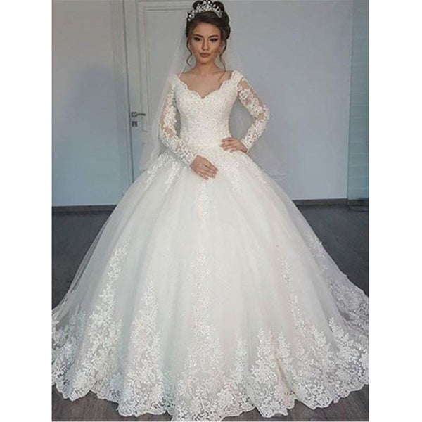 New Arrival V-neck Long Sleeves Ball Gown, Gorgeous Princess Wedding dresses, WD0418