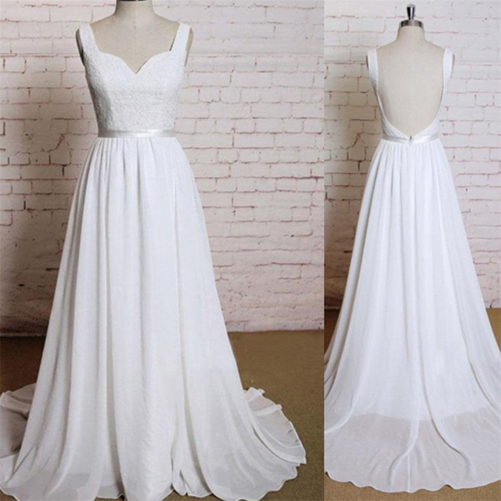 New Arrival chiffon Lace Appliques Backless Sexy Simple Beach Wedding Dress with train, WD0350
