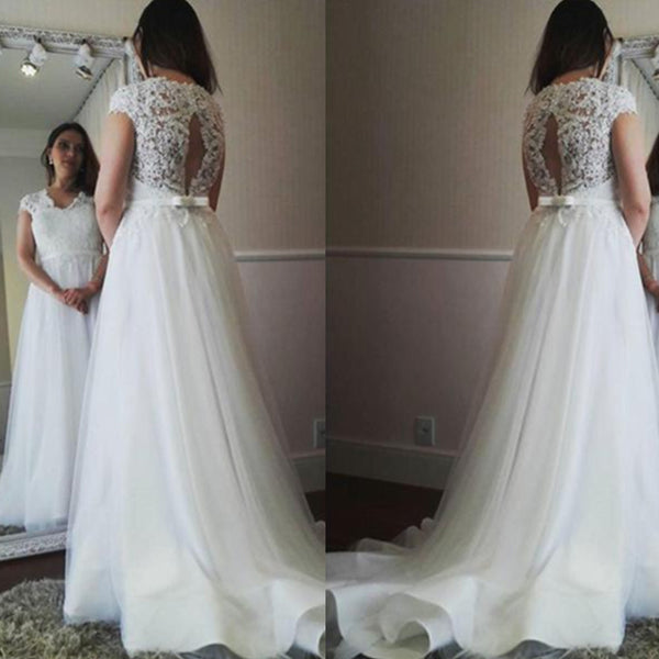 Newest Lace Top Cap sleeves Sexy Open-Back Simple Wedding Dresses With Train, WD0359