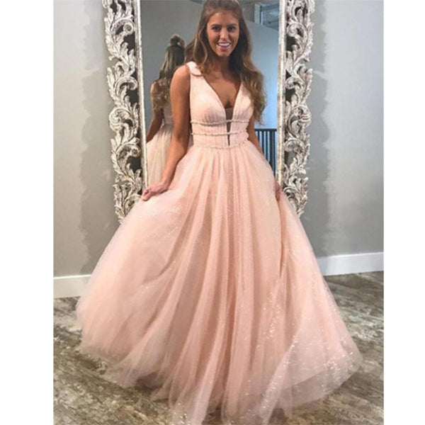Most popular A-line Floor-length V-neck princess dresses, pink lovely long prom dresses,  PD0106