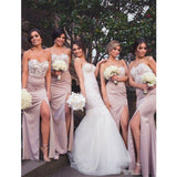Modern Sweetheart Floor-length Lace Top Sexy High Slip Blush Pink Bridesmaid Dress, BD0489