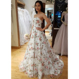 A-line Sweetheart Flower Appliques Long Prom Dresses, PD0704