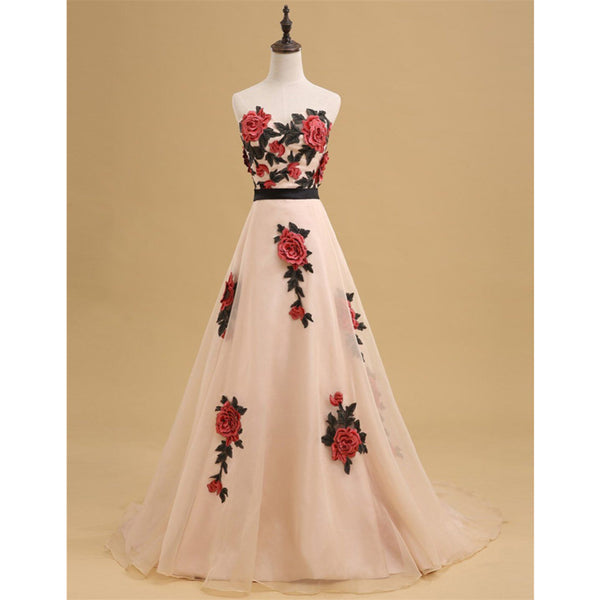 Newest Straight across Print evening dress with trailing, A-line long prom dresses, PD0530