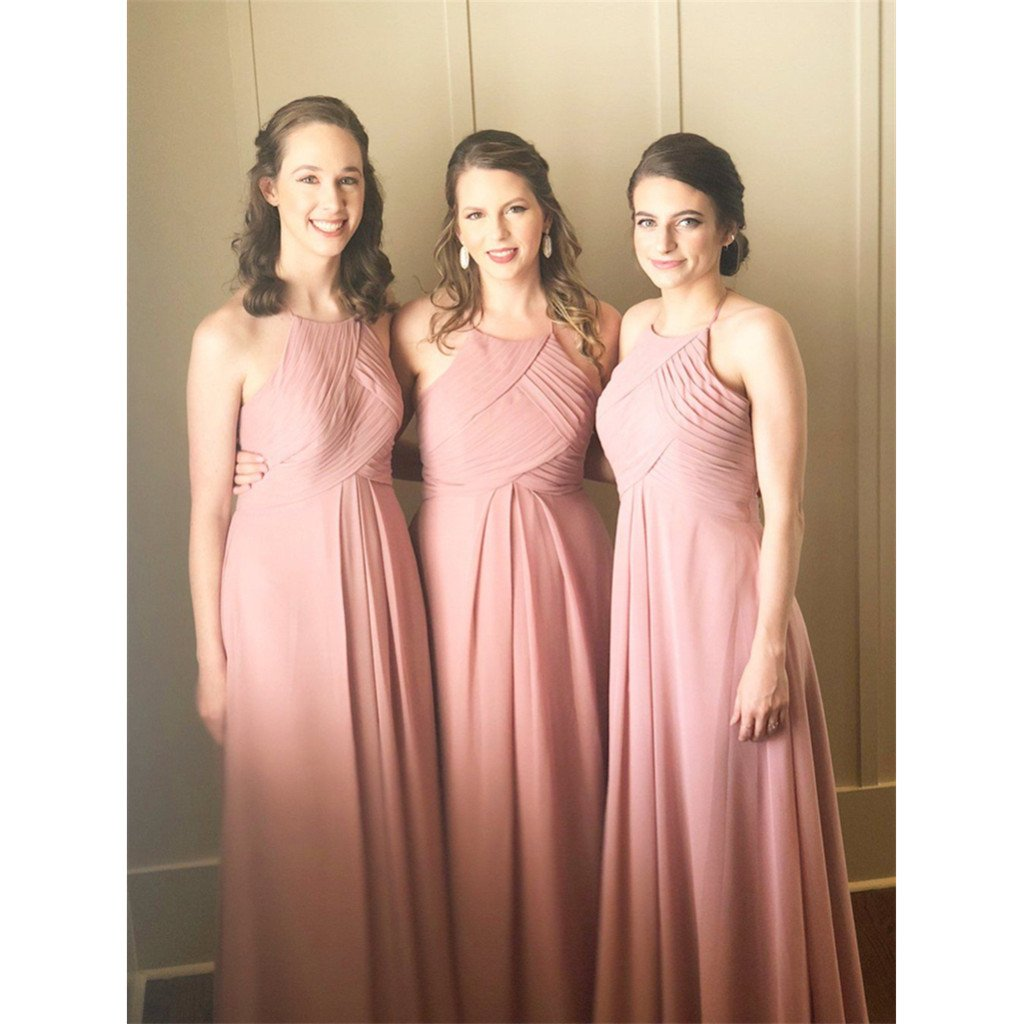 A-line Halter Chiffon Long Bridesmaid dresses With Pleats, BD0523