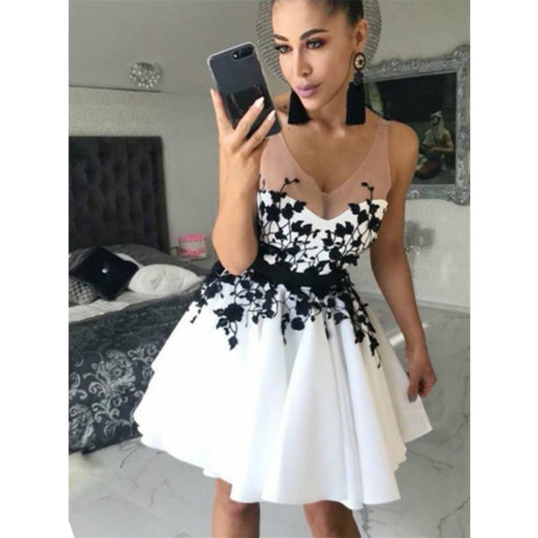 A Line Black Lace Appliques Sleeveless White Short Homecoming Dress Hd0403 A Line Black Lace Appliques Sleeveless White Short Homecoming Dress