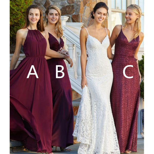Elegant Popular Burgundy Sexy V-neck Chiffon Simple Long Bridesmaid Dress, BD0475