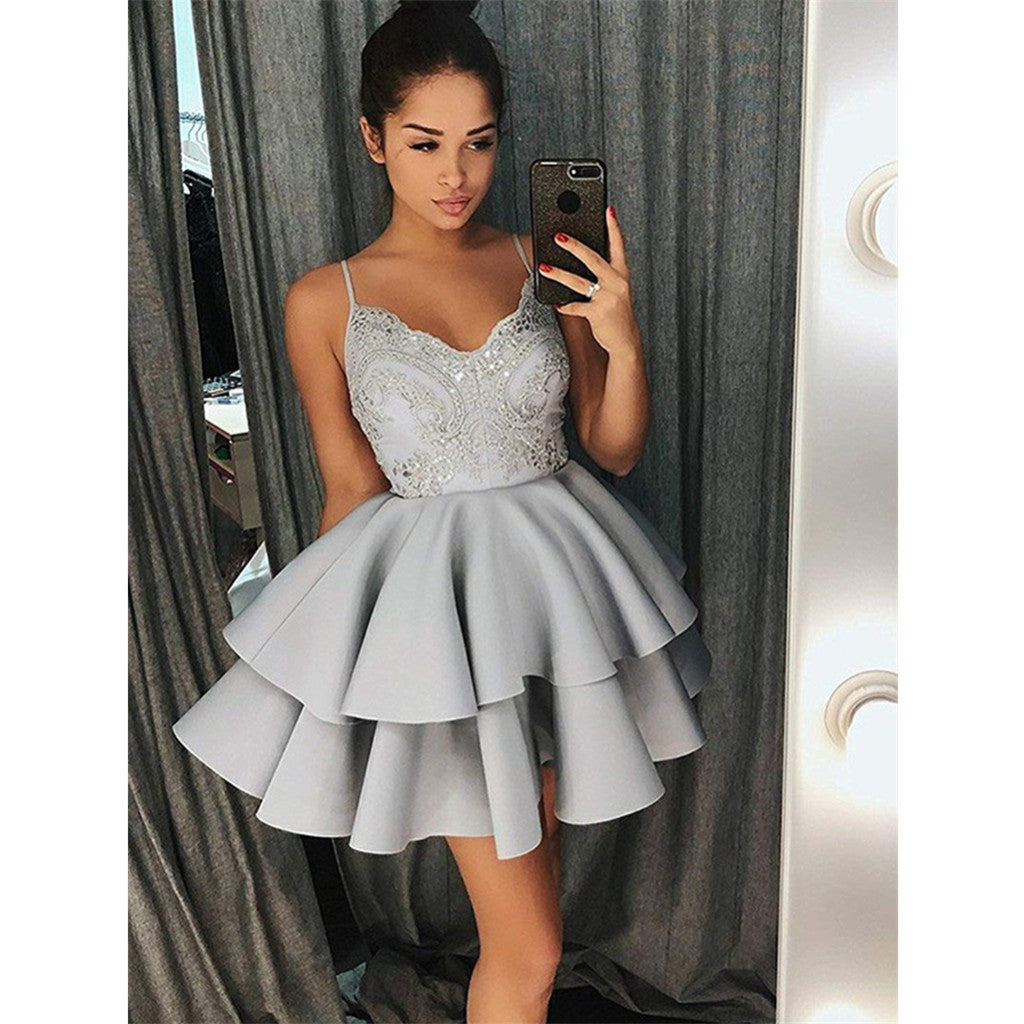 Spaghetti Straps Lace Appliques Grey Short Juniors Pleat Homecoming Dresses, HD0377