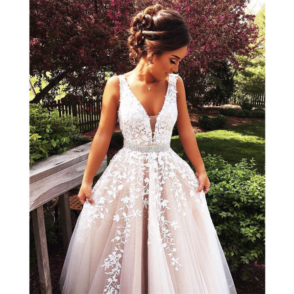 cecd8f3b23 Charming A-line Floor-length V-neck White Lace Appliques Tulle Prom Dresses