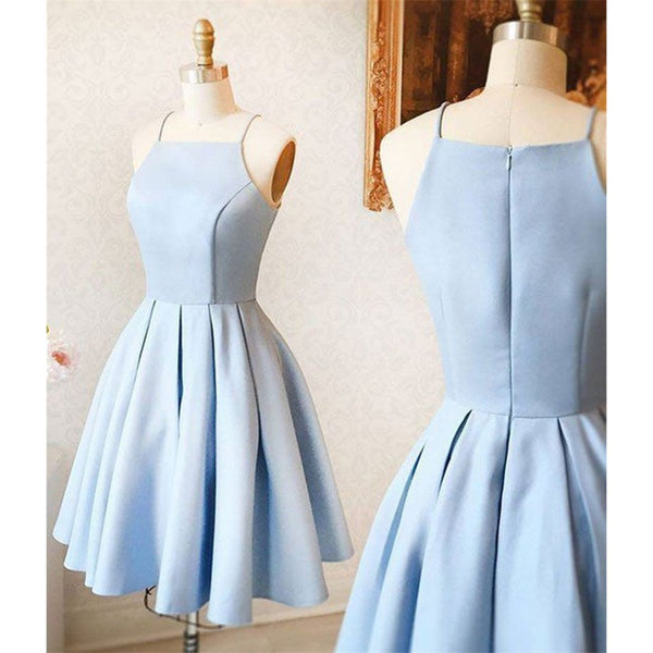 Sexy Spaghetti Straps Light Blue Party Dresses, Simple Cheap Homecoming Dresses, HD0355