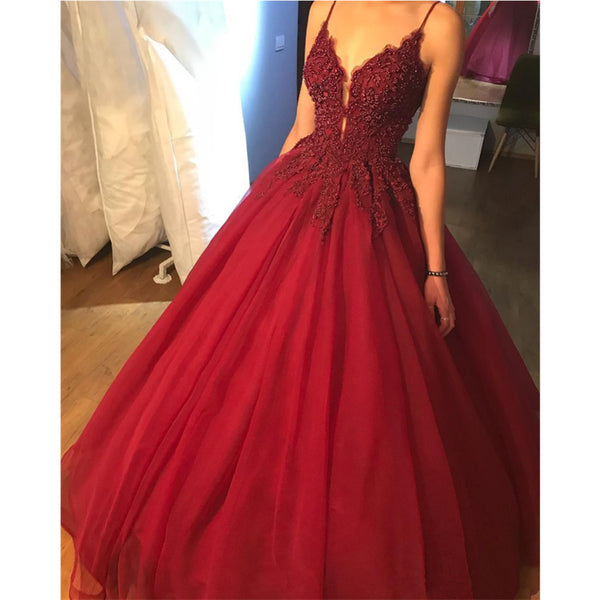 6568294894 Spaghetti Straps Deep V-neck Beading Top Long Tulle Prom Dresses ...