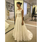 Cheap Ivory Long Lace A-line Modest Beach Wedding Dresses With Belt, WD0424