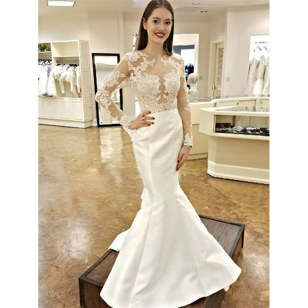 Unique Long Sleeves Lace Mermaid Open Back Fitted Wedding Dresses Wd0429 Unique Long Sleeves Lace Mermaid Open Back Fitted Wedding Dresses Wd0429