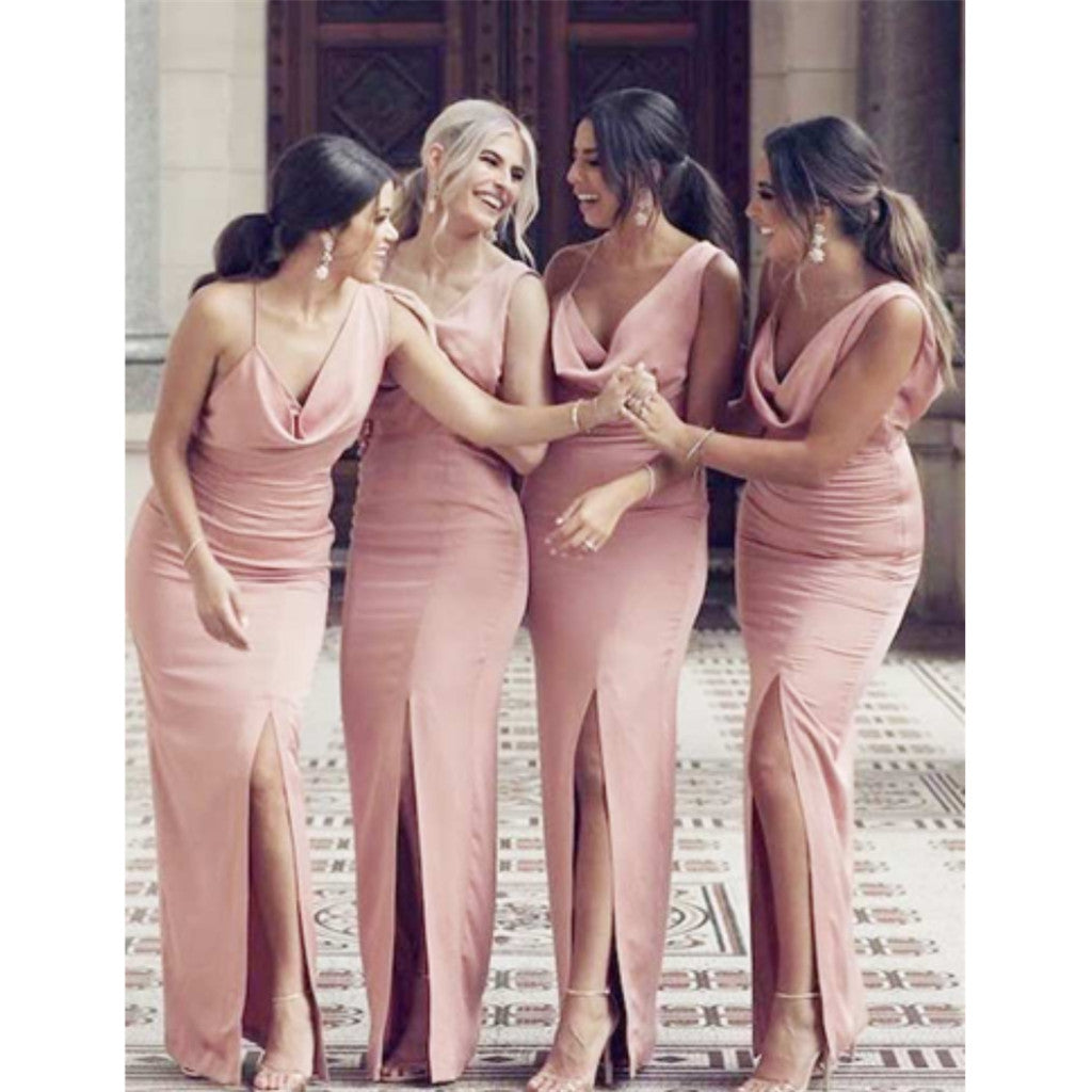 Unique Spaghetti Straps V-neck Pink Backless Slit Long Bridesmaid Dress , BD0518