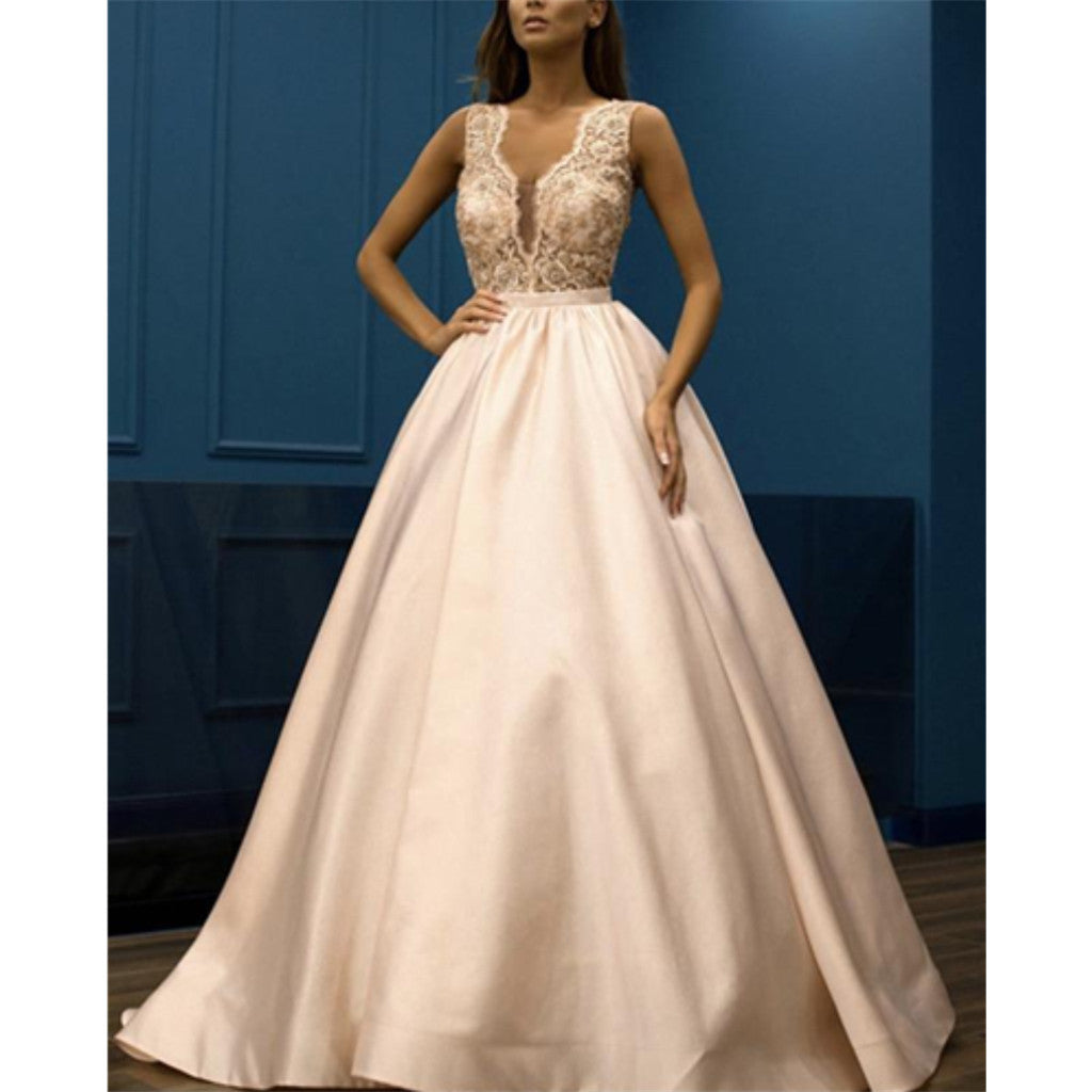 A-line Floor-length V-neck Flower Appliques Long Prom Dress, PD0627