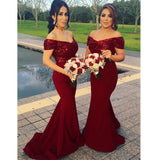 Sparkly Mermaid Off Shoulder Sweep Train Red sequins Long Bridesmaid Dresses, BD0467