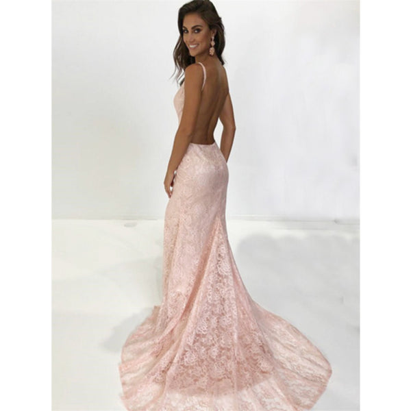 Mermaid Spaghetti Straps V-neck Pink Lace Backless Prom Dresses With Train, PD0557