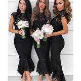 Mermaid Round Neck Cap Sleeves Black Lace Short Bridesmaid Dresses, BD0531