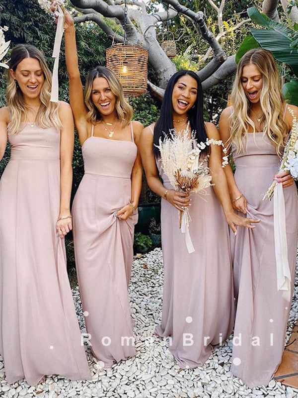 Newest A-Line Spaghetti Straps Chiffon Cheap Simple Long Bridesmaid Dresses Online,RBWG0030