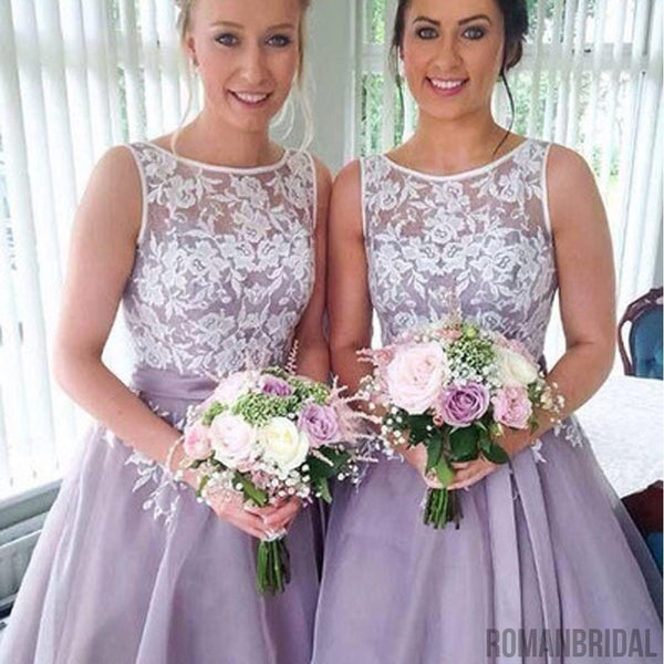 2018 Most Popular Junior Pretty Organza Bateau Off Shoulder Lace Short Bridesmaid Dresses, WG31