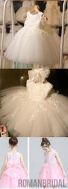 Ivory Round Neck Lace Tulle Flower Girl Dresses, Zip up Cute Little Girl Dresses, FG043