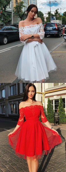 New Arrival Modern Off-shoulder White Lace Long sleeves Homecoming Dress, HD0406