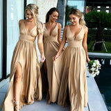 Sexy Deep V-neck Mismatched Side Slit Long Gold Bridesmaid Dresses, BD0460