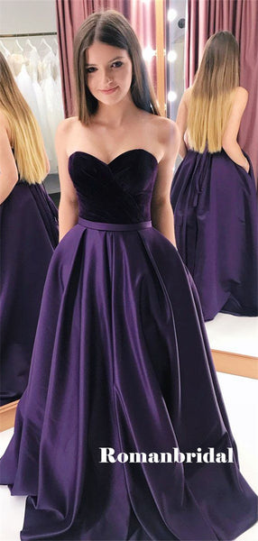 Sweetheart A-line Strapless Velevt Top Prom Dresses With Pockets, PD0791
